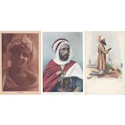 Vintage Postcard Lot of 3 Head Wrap Turban Portraits British India Alger
