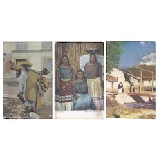 Vintage Postcard Lot of 5 Old Mexico Lifestyle Portraits Raffia Hat Basket