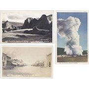 Vintage Postcard Lot of 3 Scenery Old Faithful Geyser Fairbanks Alaska Montana