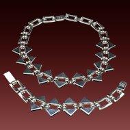 Vintage Taxco 950 Sterling Silver and Onyx MCM Modernist Necklace & Bracelet Set