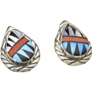 Vintage Zuni Sterling Silver Inlay Earrings Turquoise Onyx Coral Native American
