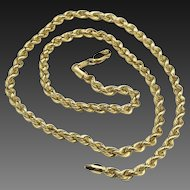 "Beautiful 14k Yellow Gold Twist Rope Chain Necklace 20.5"" Length"