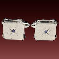 Vintage Silver Mid Century Cufflinks Star Texture Retro Blue Stone Cuff Links