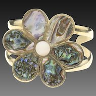 Vintage Abalone Flower Cuff Bracelet Alpaca Silver Mother of Pearl Large Inlay