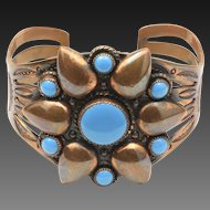 Vintage Bell Trading Co. Copper & Turquoise Enamel Cuff Bracelet Modernist Floral Jewelry