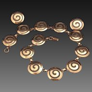 Vintage Copper Swirl Necklace & Earring Set Modernist Circle Jewelry Mid Century