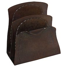 Roycroft Letter or Napkin Holder w/ Aurora Brown Finish (unmarked)