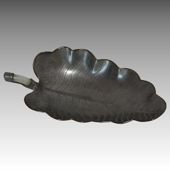Pewter Leaf Dish w/ Jade Inset Handle, China