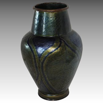Large Rare Hand Hammered Copper Arts & Crafts Vase with Enameled Peacock Feather Design, France