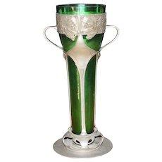 "Antique 14 ½""  Art Nouveau Pewter and Green Glass Vase, 1890 - 1910"
