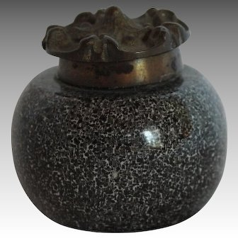 Ceramic & Bronze Granite-look Inkwell, Art Nouveau
