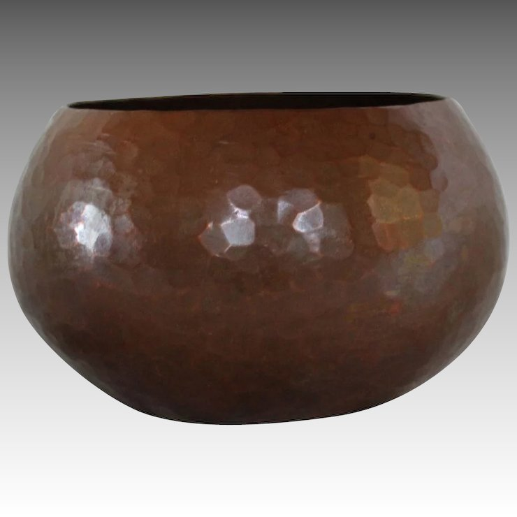Heavy Hand Hammered Copper Bowl With Dovetailed Joints Russia 1900
