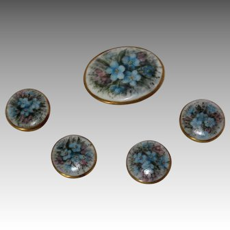 Set of 5 Hand Painted Victorian Era Porcelain Stud Buttons, 1900, Marked EDF