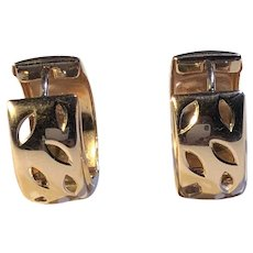 Wide Huggie Hoop Earrings 14K Rose gold Snap closure