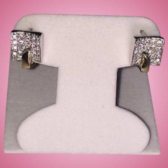 14k YG-WG Square Geometric CZ Encrusted Earrings Latch back/ French Fastening