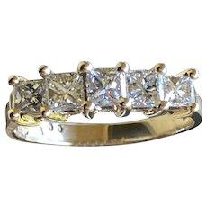 Five- Stone Diamond (1 ctw.) Engagement/Wedding/Anniversary Ring 14KP YG US Sz. 7