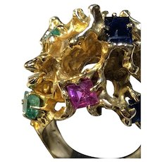 Sapphire Emerald Abstract Free form Dome Brutalist Retro Ring 14K YG c. 1960s