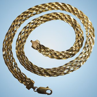 Italian 14k (585) Braided 8 strands Snake Chain Vintage Estate Necklace, Collar length 16 inch