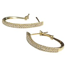 14 k Yellow Gold Diamond Oval Hoop Earrings