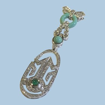 Bow Persian Turquoise Emerald Diamond 18K (750) White gold Dangling Pendant