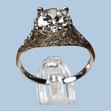 GIA 5151289418 Solitaire Diamond Platinum Edwardian Filigree Engagement Ring Sz 6.5