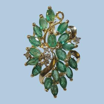 Emerald Diamond Cluster Pendant 14K YG
