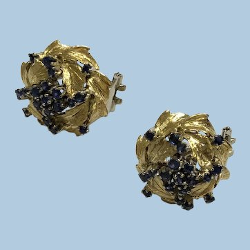 High-Dome Clip-on Florentine-finish Sapphire (1.50 carat) 18k YG/WG Earrings. Italy, c.1950s-1960s