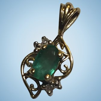 14k YG Heng Ngai Designers Emerald Diamond Petite Pendant