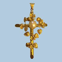 Handcrafted Floral Motifs Cultured White Pearl 14 karat yellow gold Cross pendant