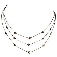 Three-strand layering bead chains collar style necklace 14K multi color gold