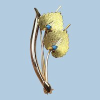 Vintage Mid-Century 18K 750 Rose/Yellow Gold Branch w/Leaves Persian Turquoise Pin Brooch, Italy c.1944-1968