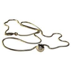 Minimalist Classic Elegant Choker 18 inches Snake Necklace with .20cwt Round Brilliant Cut Bezel Set Diamond Pendant, 585 14-karat YG 10 grams