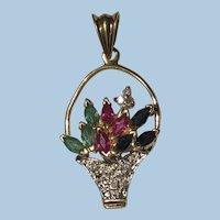 Sapphire, Ruby, Emerald, Diamond Flower Basket Pendant 10k YG/WG