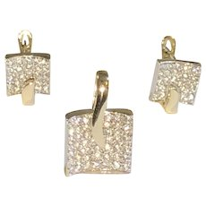 Modernist Mid-century Geometric Square Jewelry Set of Earrings & Pendant 14K WG/YG CZ accented, c.1960s