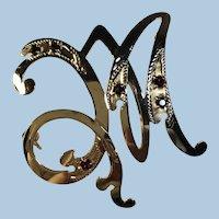 Vintage 18K 750 YG Elegant Script Monogram Brooch Garnet Glass Accented [261-VI-750], Italy c.1960s