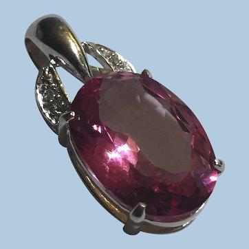 14k 585 WG Pink Topaz Diamond Accents Pendant/ Cocktail Charm