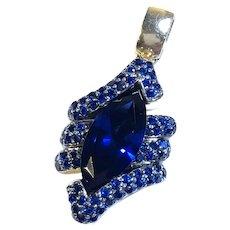 Retro Lab created Large Royal Blue Sapphire (6.76 carats) Pendant 14K YG, c. late 1960s