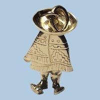 Man in Sombrero Hat and Kiva Patterns Serape Vintage Bracelet Charm/Necklace Pendant 14K YG, c. 1960s.