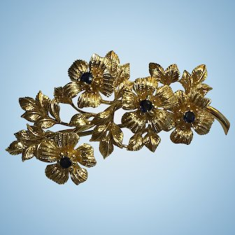 Tiffany&Co. 18k Italy Retro Floral Motif Sapphire Brooch/Pin c.1960s
