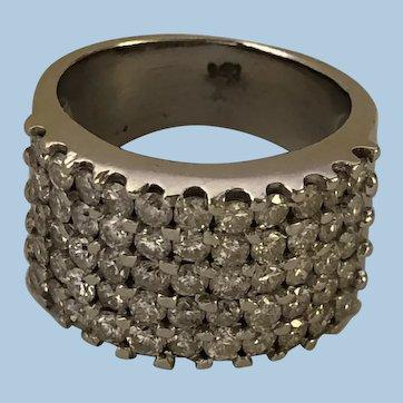 "Vintage Mid-Century Wide Pave ""Bead"" Set  2.75 Diamond Wedding Anniversary Right Hand Band Ring 14K WG Sz 6.75"