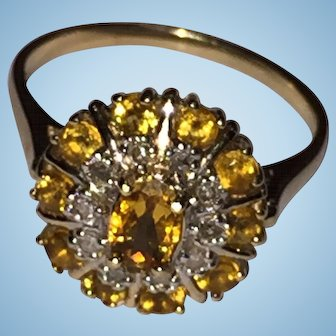 Yellow Topaz and Diamonds 10k YG Cluster Ring US Size 8