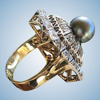 "Square Asian inspired ""Pagoda"" Retro Dome Cocktail Tahitian Pearl ring 14K YG/WG Size US 7.25 CZ c.1970s"