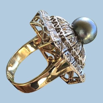 """Square Asian inspired """"Pagoda"""" Retro Dome Cocktail Tahitian Pearl ring 14K YG/WG Size US 7.25 CZ c.1970s"""