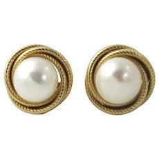 14K Gold Mabe Pearl Pierced Post Earrings
