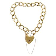 Victorian Style 9Ct English Padlock Heart Link Bracelet