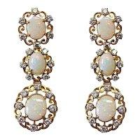 18K Gold Diamond and Opal Pierced Dangling Earrings