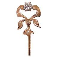 14K Art Nouveau Diamond Cultured Seed Pearl Stick Pin