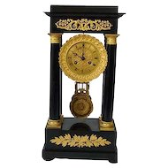 Neoclassical French Portico Clock Circa 1840