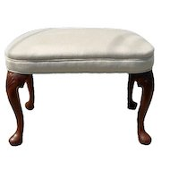 Queen Anne Style Carved Walnut Foot Stool