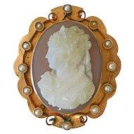 Victorian Gold Hard Stone Cameo Pearl Pin
